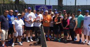 Buena Park Tennis Circle:  Buena Park Tennis Circle scored another ace as it concluded the summer season with a doubles tennis tournament, the fourth in the club's history. Winners of the tournament held at Boisseranc Park tennis courts are doubles partners Buddy and Ebiong with Mario and Monching settling for the 1st runner up trophy. BTC is one of the most active sports club in the Buena Park area with its members playing regular leisurely rounds for camaraderie and physical fitness. Cesar Reamico, Rico Taruc, Bing Dalde and Rudy Malilim are the club's coordinators.
