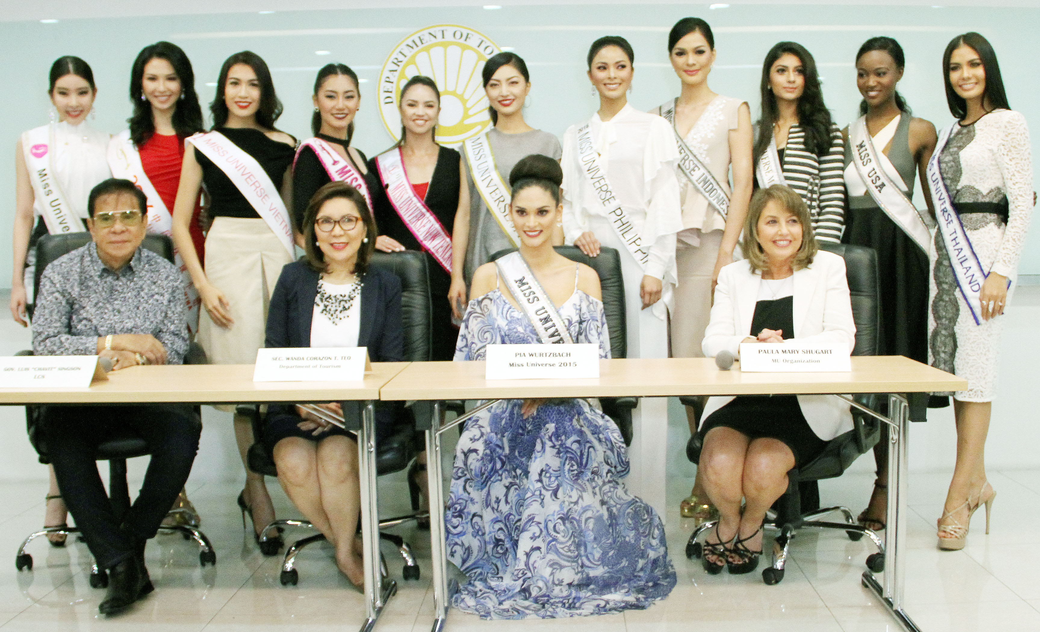 Eleven Miss Universe 2016 candidates were presented during the media briefing held at the Department of Tourism (DOT) head office in Makati City on Monday (Dec. 12, 2016). They are (standing from left to right) Miss Korea Jenny Kim, Miss China Joyce Li, Miss Vietnam Dang Thi Le Hang, Miss Myanmar Htet Htet Tun, Miss New Zealand Tania Pauline Dawson, Miss Japan Sari Nakazawa, Miss Philippines Maxine Medina, Miss Indonesia Kezia Roslin Cikita Warouw, Miss Malaysia Kiranmeet Kaur Balijeet Singh, Miss USA Deshauna Barber, and Miss Thailand Chalita Suansane. The Philippines previously hosted the Miss Universe pageant twice, in 1974 and 1994. (MNS photo)