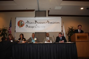ABAOC Connects:  A panel of experts shares their experiences with the members of the Asian Business Association of Orange County at one of the events sponsored by the organization in Orange County. ABAOC President Tom Nguyen is at the podium moderating the exchange.