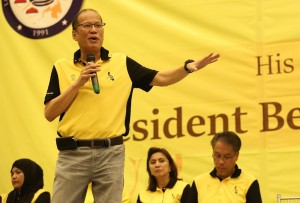 Liberal Party (LP) chairman President Benigno S. Aquino III delivers his speech during the meeting with the local leaders and the community at the Fontana Convention Center in Clark, Pampanga on Monday (April 25).(MNS photo)