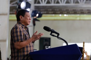 President Rodrigo Duterte vows to boost the country's military capabilities during his speech at the 2nd Infantry Division headquarters in Camp Capinpin, Tanay, Rizal on August 24.  (MNS photo)
