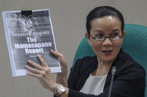 Senator Grace Poe on Tuesday presents a copy of the Philippine National Police Board of Inquiry (BOI) report and discusses the findings of the Senate committee on public order that she heads. Poe affirmed most of the BOI's findings and stressed President Aquino's responsibility on the incident. (MNS photo)