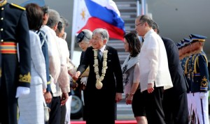 Japanese Emperor Akihito and Empress Michiko arrive in Manila Tuesday (January 26) for a five-day State Visit and to pay their respects for those who lost their lives here during World War II and to promote international goodwill. They are welcome by President Benigno S. Aquino III, sister PinkyAbellada and members of his Cabinet at AGES Aviation Center, Balabag Ramp, Pasay City. (MNS photo)