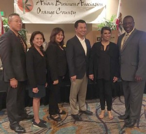 ABAOC's University: The Asian Business Association of Orange County has been known for the diversity of its member-entrepreneurs, a plus factor in its more than 25 years of existence. As one of the most respected nonprofits, it is also known for the many projects it undertakes for the community one of which is the university project it hosted at the Wynham Anaheim Garden Grove as a means of educating the business community on ways to be more effective and profitable. The ABAOC officers are shown (from L-R), Roger Cheng. Edith Andres, Gloria Rull (Directors) Sam Nguyen (President) with the speakers, Sarah Garrette and Gilbert Buchanan, at the conclusion of the event.