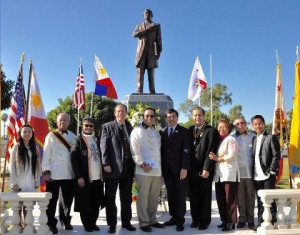 Rizal Day in Carson: Commemorating the third annual Rizal Day and the 119th death anniversary and martyrdom of the Philippines national hero. From left are Aaliya Mariah Magcasi, who sang the Star Spangled Banner, poet Tony Berango, Kalayaan Incorporated president Josie E. de Jesus, Carson City Clerk Jim Dear, Consul General Leo Herrera-Lim, Bellflower Mayor Sonny Sta. Ines, Carson Mayor Pro Tem Elito M. Santarina, MC Lydia V. Solis, Monchito Mandap, chair of the Dr. Jose P. Rizal Monument Movement, and Sam Santiago, who sang Lupang Hinirang and Ang Bayan Kong Mahal. Photo: Joe Cobilla