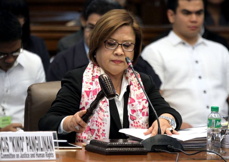 Senator Leila de Lima, chair of the Committee on Justice and Human Rights, leads the inquiry on the extrajudicial killings, Monday morning.(MNS photo)