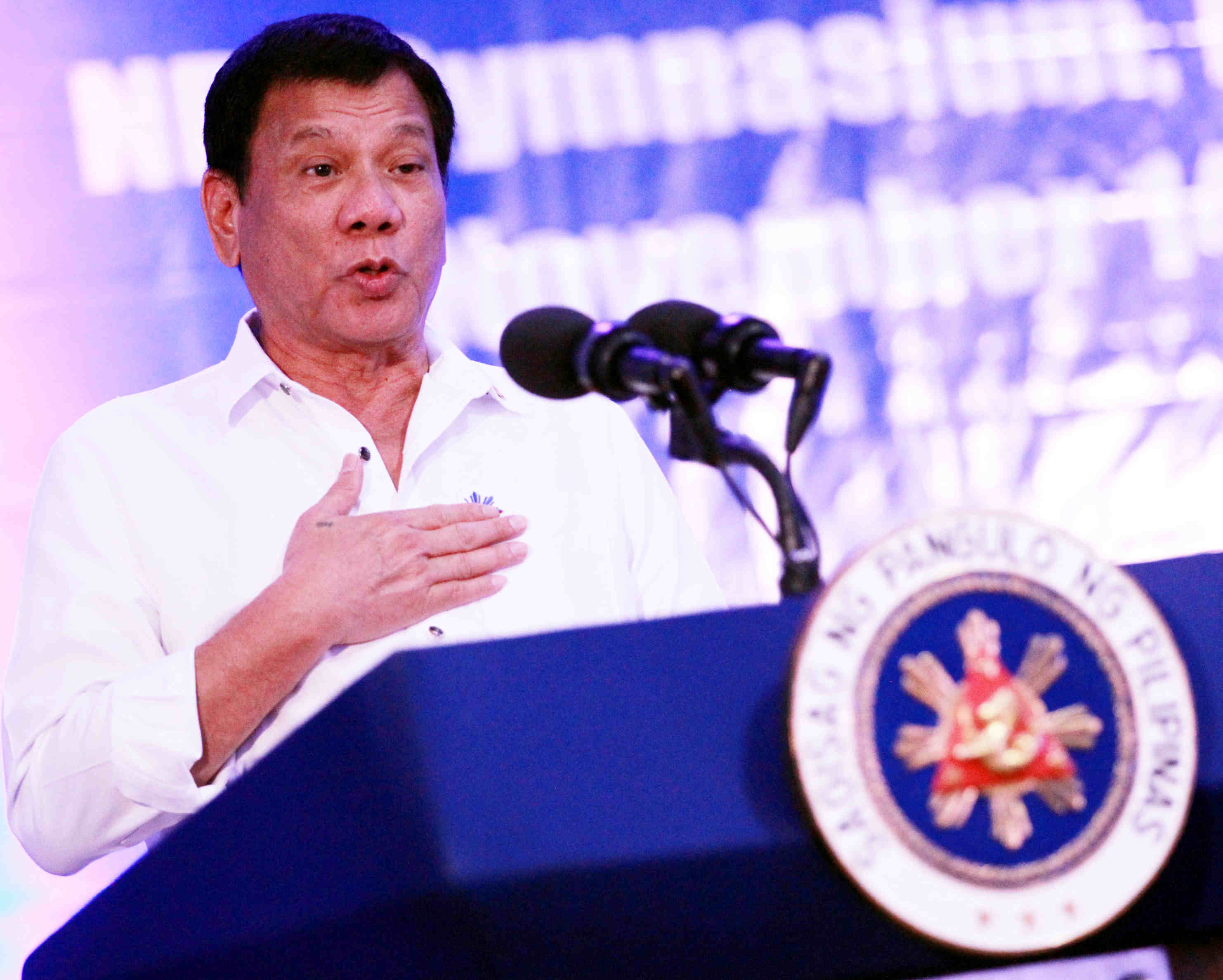 President Rodrigo R. Duterte clarifies that law enforcers can neutralize an illegal drug suspect only if the latter displays a violent resistance during his keynote speech on the 89th founding anniversary of the National Bureau of Investigation at the NBI Gymnasium in Manila on Monday (Nov. 14, 2016). (MNS photo)