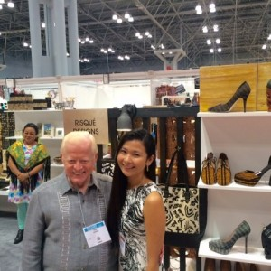 Ambassador Jose L. Cuisia, Jr. visits the booth of Kristal Leen de Guzman, owner and designer of Risqué Designs, a customized artisan footwear brand in the Philippines, at the NY Now Exhibit in the Jacob K. Javits Center in New York City. (Photo courtesy of Kristal Leen de Guzman)