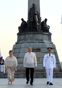 "President Benigno S. Aquino III, accompanied by National Historical Commission chair Ma. serena Diokno and AFP Chief of Staff Gen. Hernando Iriberri, graces the commemoration of the 119th Anniversary of the Martyrdom of Dr. Jose Rizal at the Rizal National Monument in Rizal Park, Manila City on Wednesday (December 30), with the theme: ""Rizal 2015: Dangal Ng Pilipino, Gabay Sa Pagbabago. (MNS photo)"