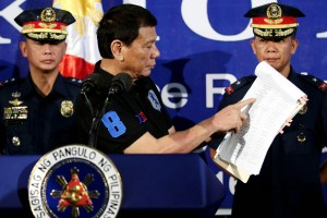 President Duterte shows a document containing the list of alleged narco-politicians: President Rodrigo R. Duterte shows a document containing the list of alleged narco-politicians during his speech at the Police Regional Office 13 Headquarters in Camp Rafael C. Rodriguez, Butuan City on Thursday (Oct. 6, 2016). (Photo by Simeon Celi Je./PPD/PNA)