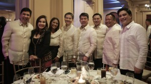 Senate turns 100: Senate President Aquilino Pimentel III (4th from right) is joined by (from left) Senate Minority Leader Ralph Recto, Senators Loren Legarda, Nancy Binay, Joel Villanueva, Juan Edgardo Angara, JV Ejercito, and Juan Miguel Zubiri during the Senate Centennial Dinner and Reunion on Wednesday (October 5, 2016). Pimente said the current Senate is proud to continue its role as the vibrant repository of the country's democratic ideals. (PNA photo courtesy of Senate PRIB)