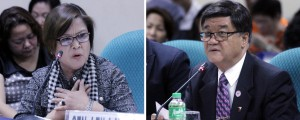 Senate hearing on the DOJ's proposed budget of PHP15.017-B for 2017: Justice Secretary Vitaliano Aguirre II (right) responds to a question from Senator Leila de Lima during the hearing on the proposed 2017 budget of PHP15.017-billion of the Department of Justice and its Attached Agencies on Friday (Oct. 7, 2016) at the Senate in Pasay City. (PNA photos by Jess M. Escaros Jr.)