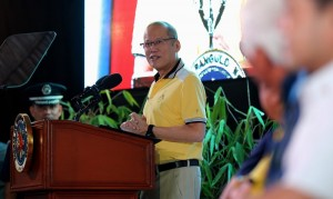 "President Benigno S. Aquino III delivers his speech during the opening ceremony of the 3rd Global Social Business Summit and Gawad Kalinga's 13th Anniversary at the Hyundai Center for Green Innovation of the GK Enchanted Farm in Barangay Encanto, Angat, Bulacan on Friday (January 15). The event has for its theme: ""The Business of Kindness: Doing Good Makes Business Sense.""(MNS photo)"